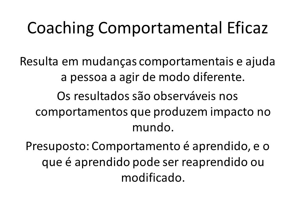 Coaching Comportamental Eficaz