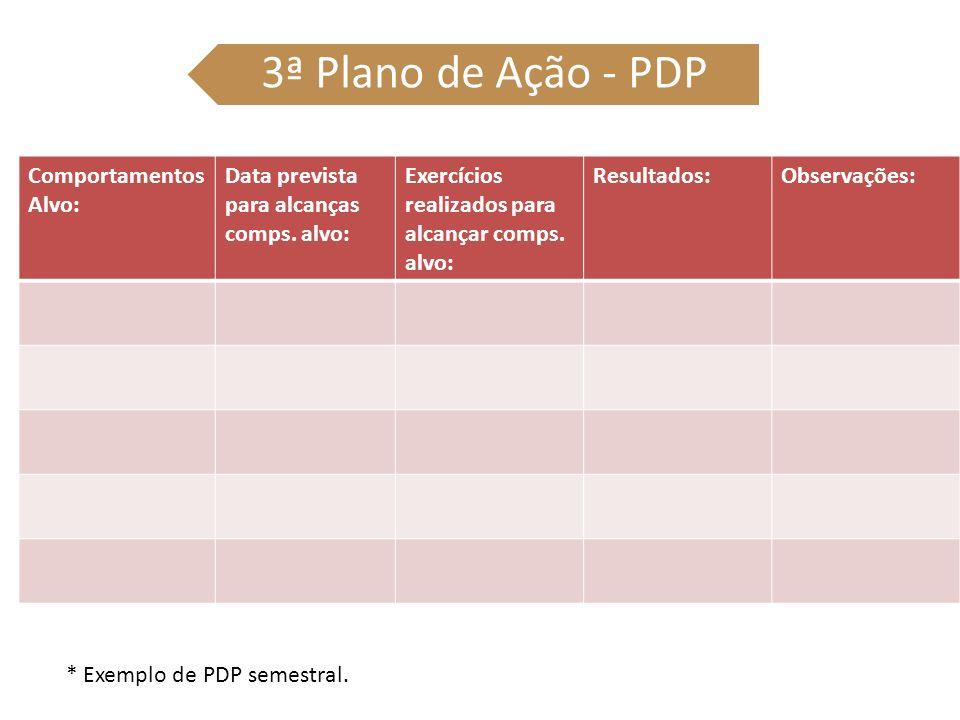 3ª Plano de Ação - PDP Comportamentos Alvo: