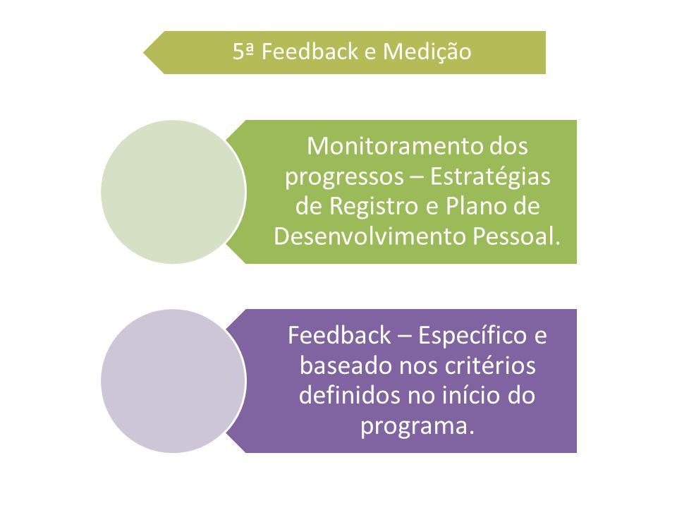 5ª Feedback e Medição Monitoramento dos progressos – Estratégias de Registro e Plano de Desenvolvimento Pessoal.