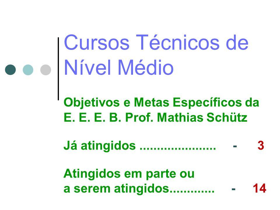Cursos Técnicos de Nível Médio Objetivos e Metas Específicos da E.