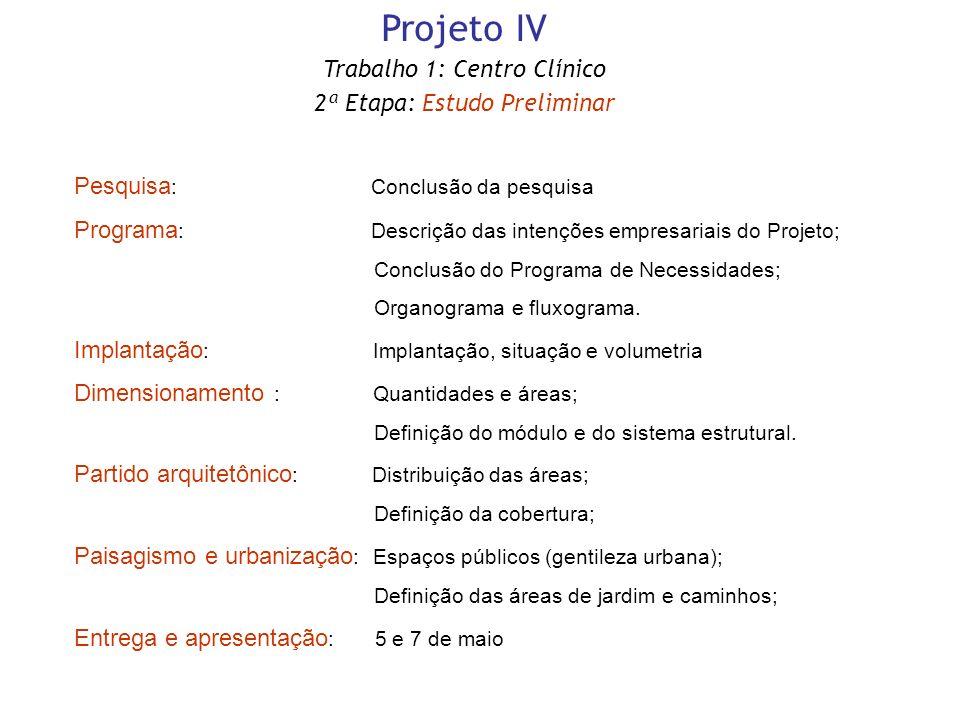 Projeto IV Trabalho 1: Centro Clínico 2ª Etapa: Estudo Preliminar