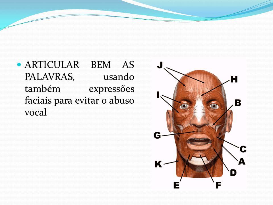 ARTICULAR BEM AS PALAVRAS, usando também expressões faciais para evitar o abuso vocal