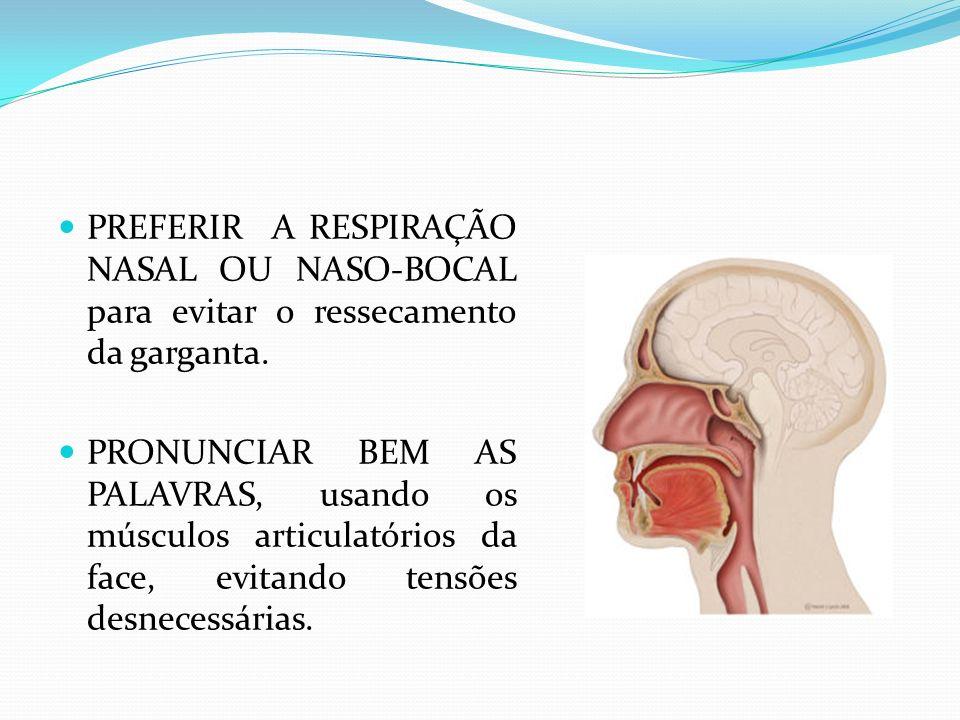 PREFERIR A RESPIRAÇÃO NASAL OU NASO-BOCAL para evitar o ressecamento da garganta.