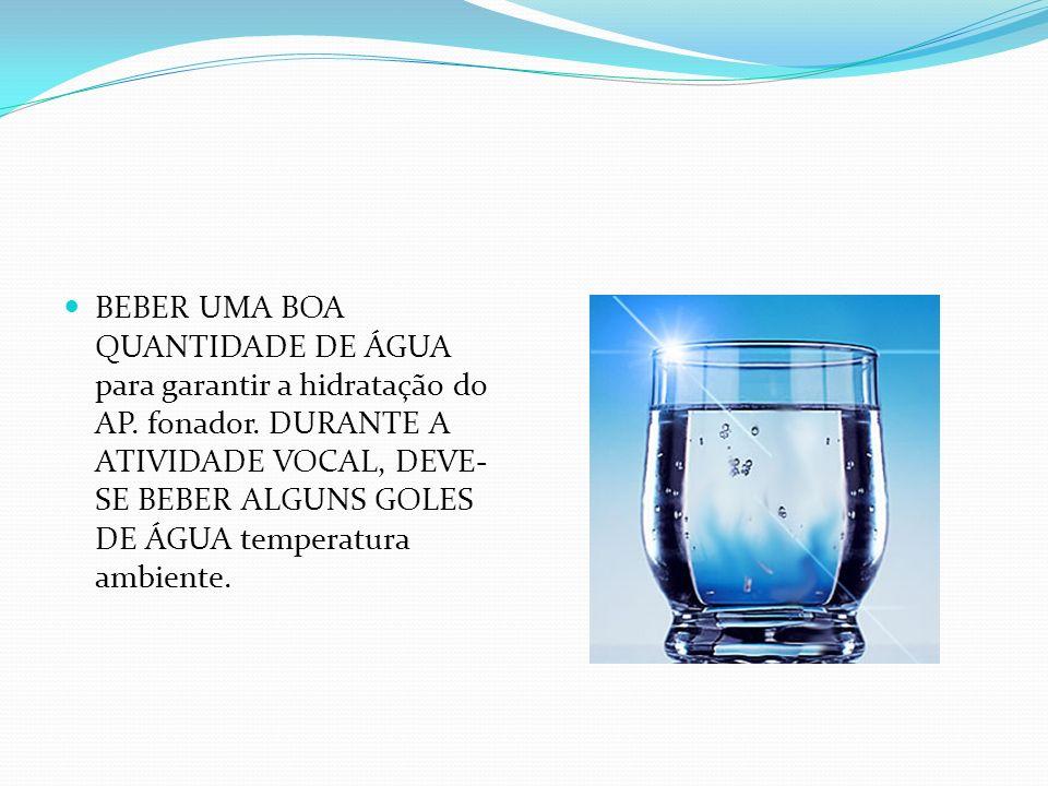 BEBER UMA BOA QUANTIDADE DE ÁGUA para garantir a hidratação do AP
