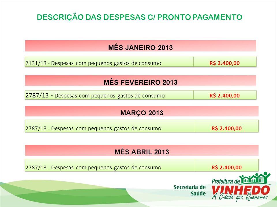DESCRIÇÃO DAS DESPESAS C/ PRONTO PAGAMENTO