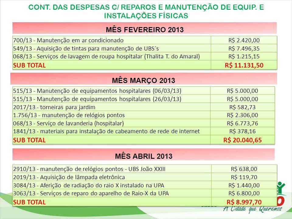 CONT. DAS DESPESAS C/ REPAROS E MANUTENÇÃO DE EQUIP