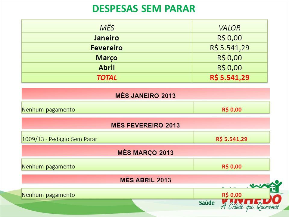 DESPESAS SEM PARAR MÊS VALOR Janeiro R$ 0,00 Fevereiro R$ 5.541,29