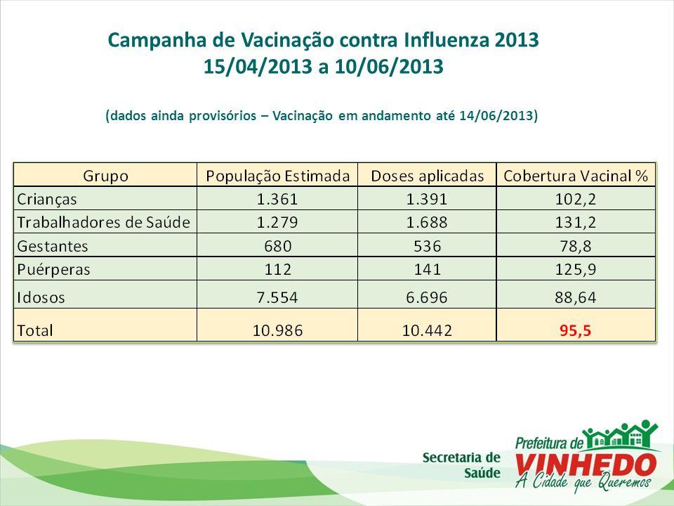 Campanha de Vacinação contra Influenza 2013 15/04/2013 a 10/06/2013