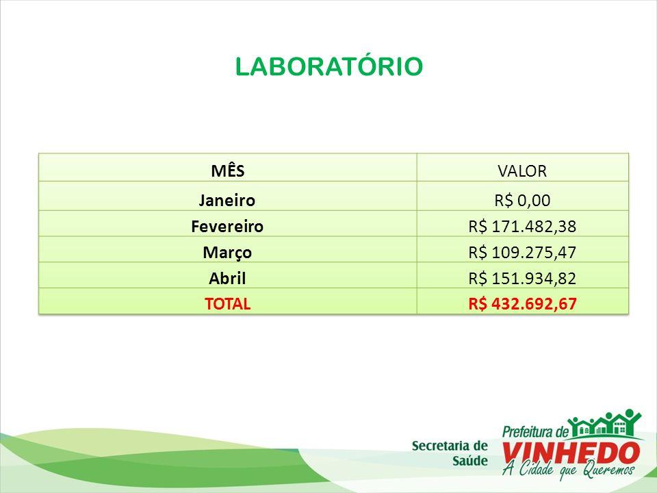 LABORATÓRIO MÊS VALOR Janeiro R$ 0,00 Fevereiro R$ 171.482,38 Março