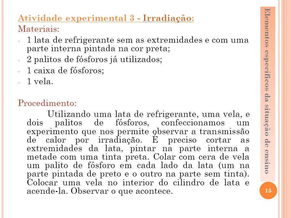 Atividade experimental 3 - Irradiação: Materiais: