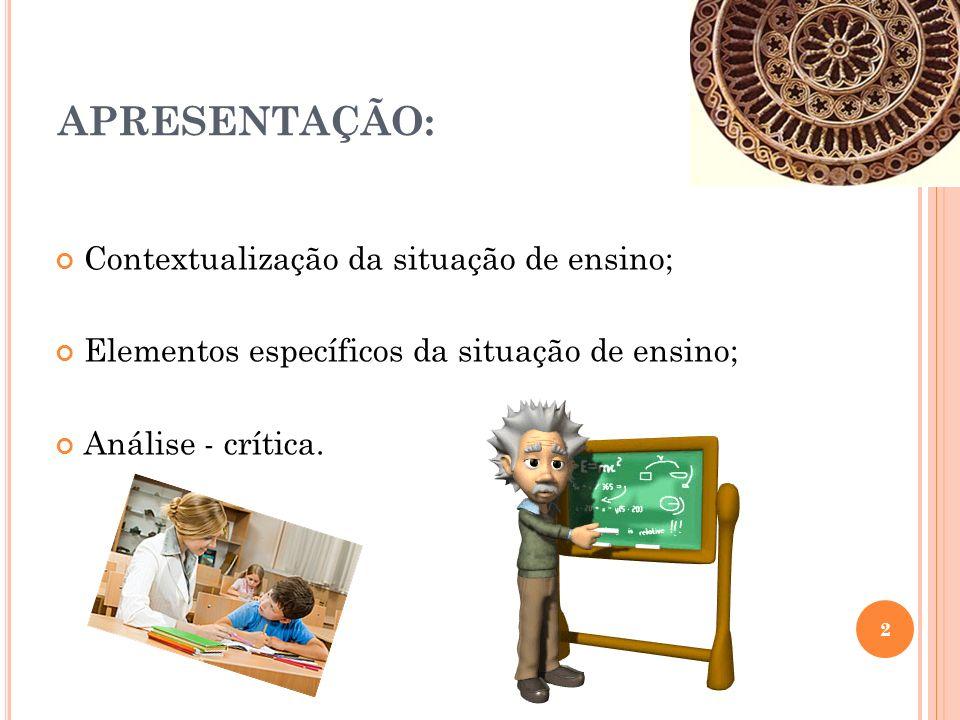APRESENTAÇÃO: Contextualização da situação de ensino;