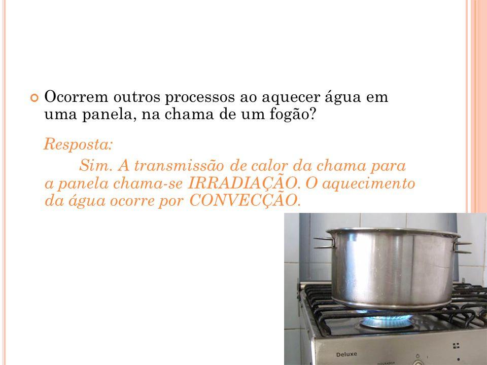 Ocorrem outros processos ao aquecer água em uma panela, na chama de um fogão