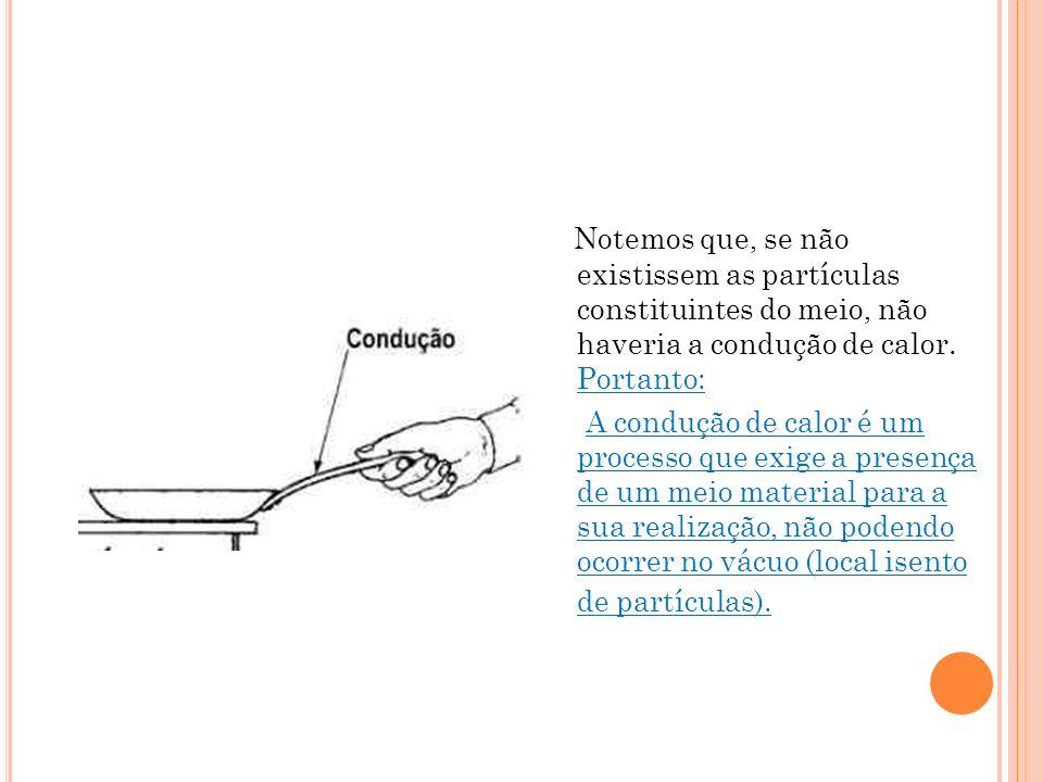 Notemos que, se não existissem as partículas constituintes do meio, não haveria a condução de calor. Portanto: