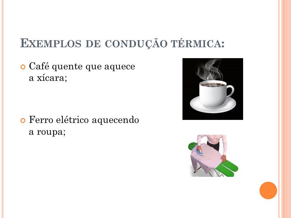 Exemplos de condução térmica: