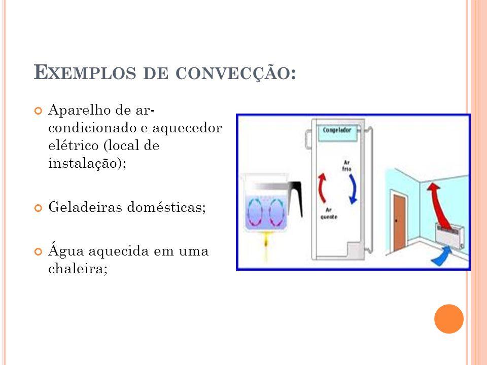 Exemplos de convecção: