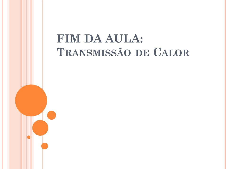 FIM DA AULA: Transmissão de Calor