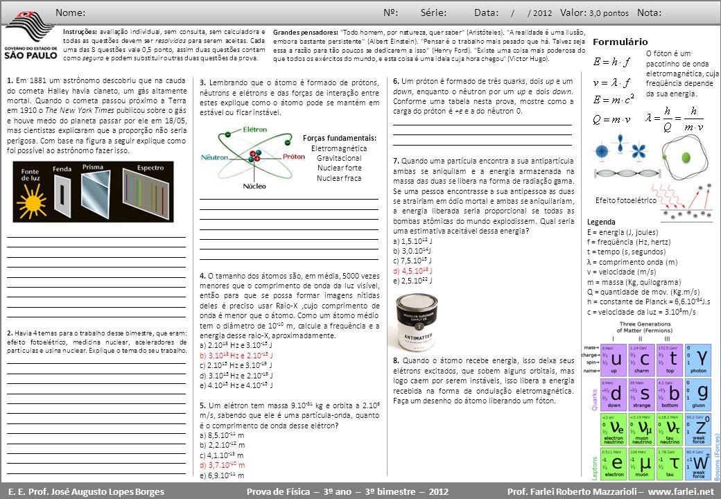 Prova de Física – 3º ano – 3º bimestre – 2012