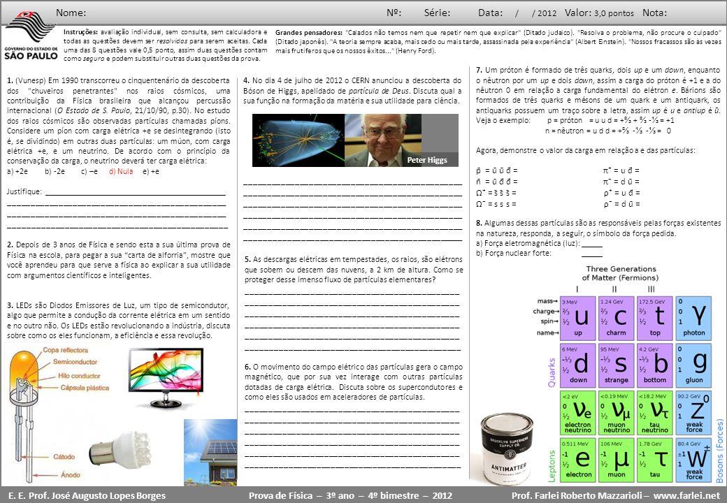Prova de Física – 3º ano – 4º bimestre – 2012