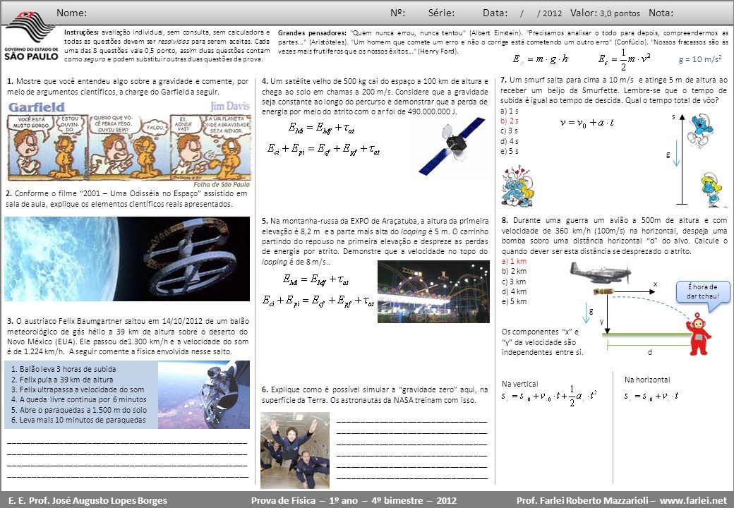 Prova de Física – 1º ano – 4º bimestre – 2012