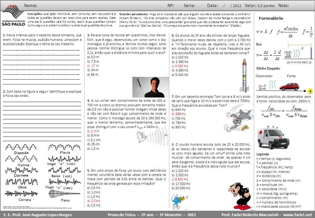 Prova de Física – 2º ano – 3º bimestre – 2012