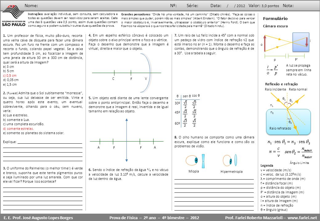 Prova de Física – 2º ano – 4º bimestre – 2012