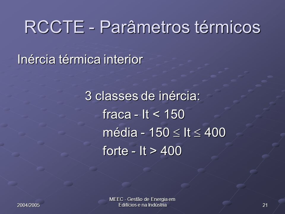 RCCTE - Parâmetros térmicos