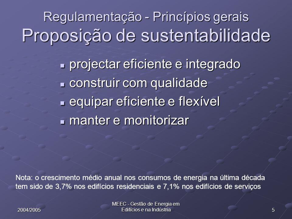 Regulamentação - Princípios gerais Proposição de sustentabilidade