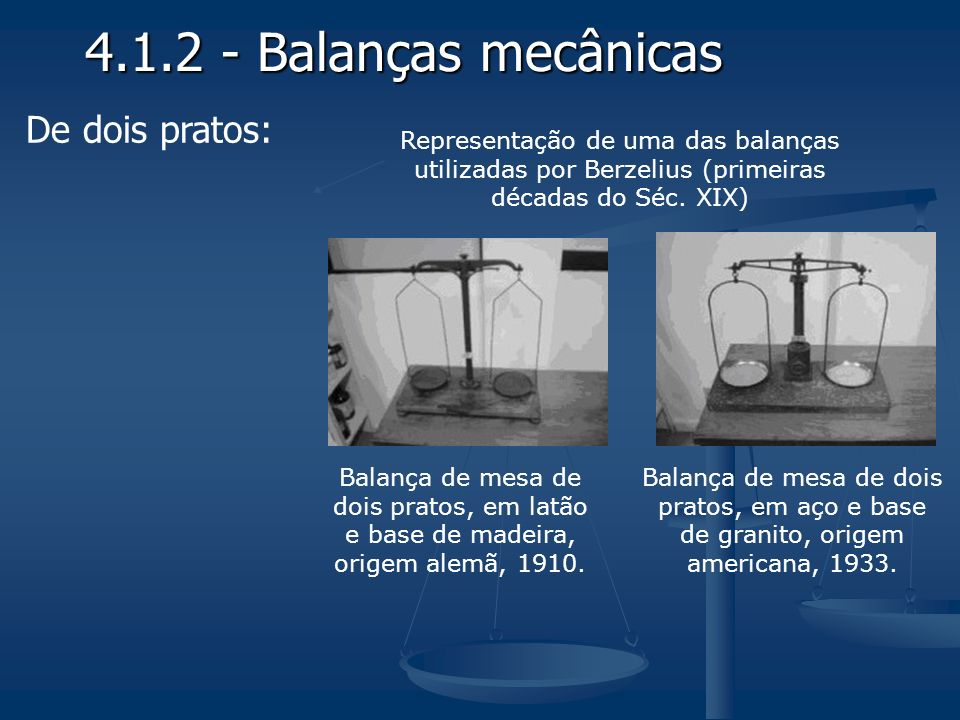 4.1.2 - Balanças mecânicas De dois pratos: