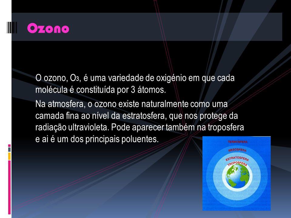 Ozono O ozono, O3, é uma variedade de oxigénio em que cada molécula é constituída por 3 átomos.