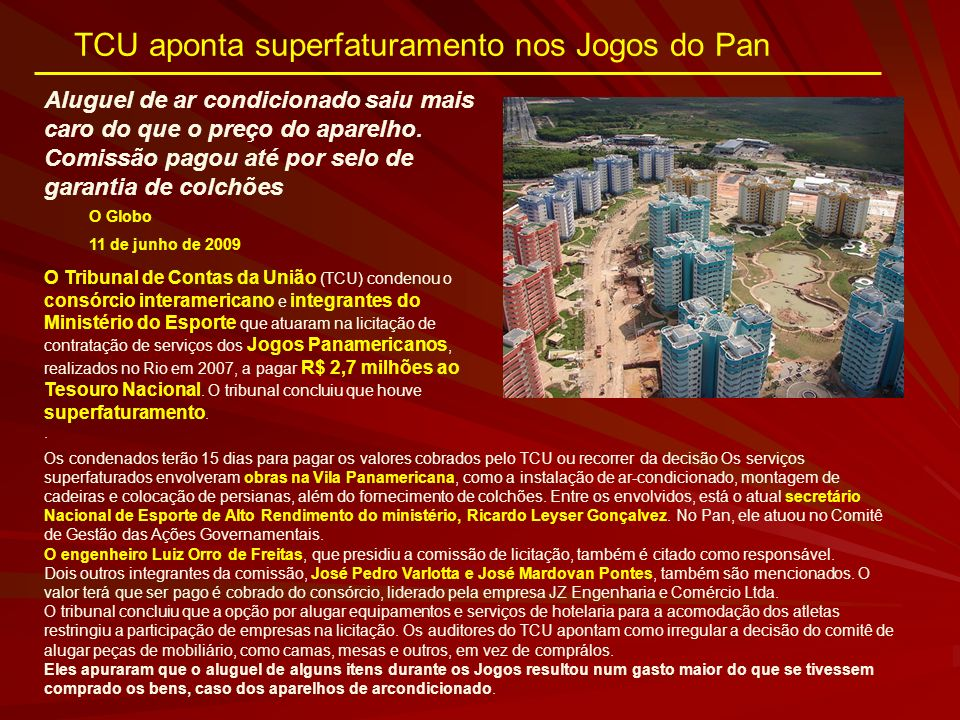 TCU aponta superfaturamento nos Jogos do Pan