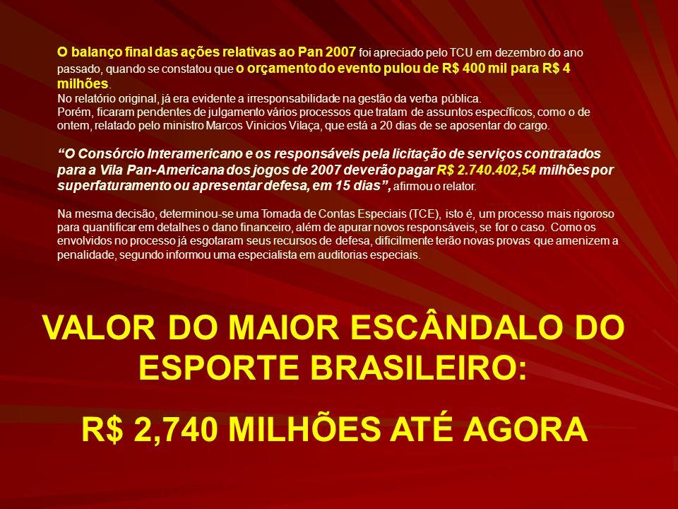 VALOR DO MAIOR ESCÂNDALO DO ESPORTE BRASILEIRO: