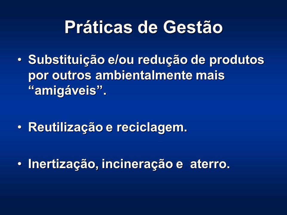 Práticas de Gestão Substituição e/ou redução de produtos por outros ambientalmente mais amigáveis .