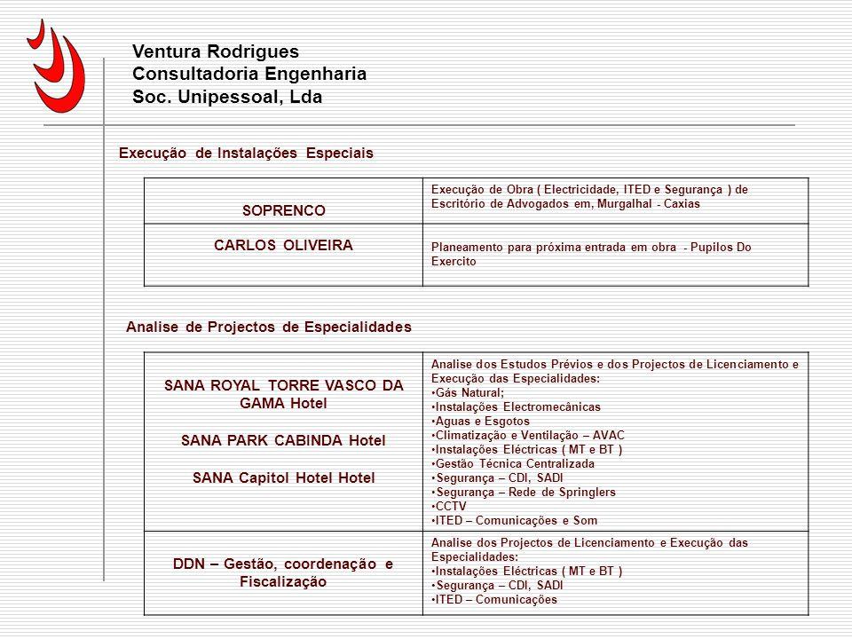 Currículo Ventura Rodrigues Consultadoria Engenharia Soc. Unipessoal, Lda. Execução de Instalações Especiais.