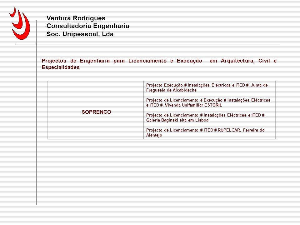 Currículo Ventura Rodrigues Consultadoria Engenharia Soc. Unipessoal, Lda.