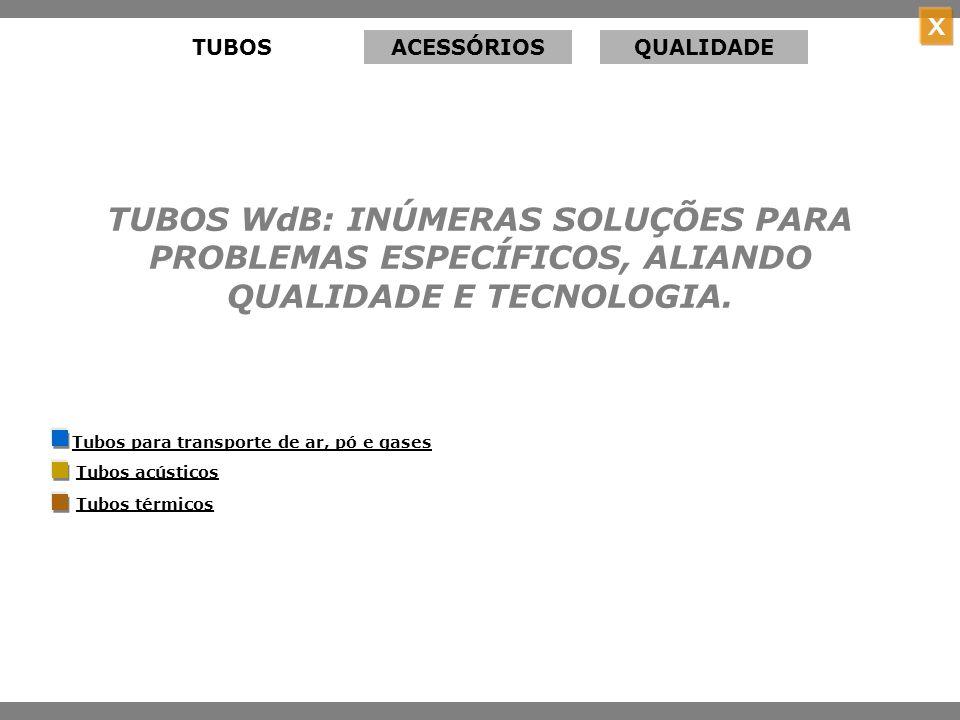 TUBOS ACESSÓRIOS. QUALIDADE. TUBOS WdB: INÚMERAS SOLUÇÕES PARA PROBLEMAS ESPECÍFICOS, ALIANDO QUALIDADE E TECNOLOGIA.