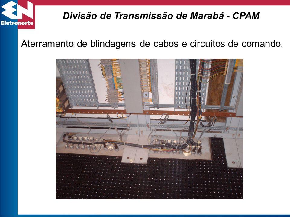 Aterramento de blindagens de cabos e circuitos de comando.
