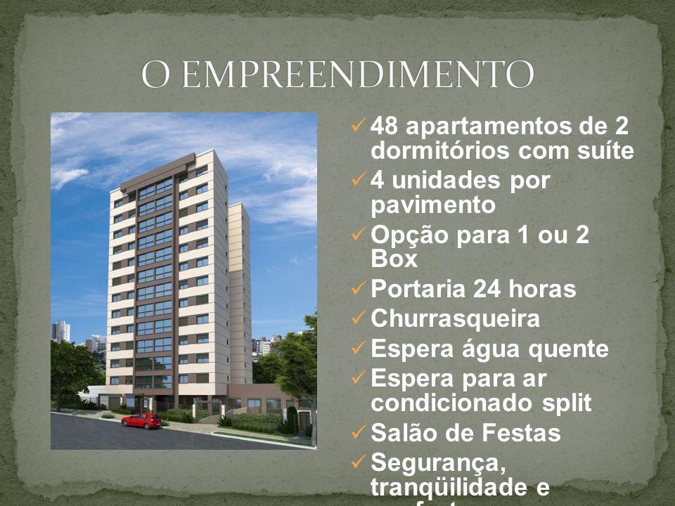 O EMPREENDIMENTO 48 apartamentos de 2 dormitórios com suíte