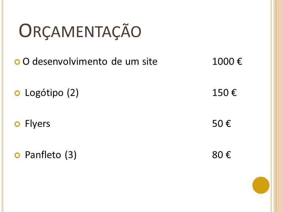 Orçamentação O desenvolvimento de um site 1000 € Logótipo (2) 150 €