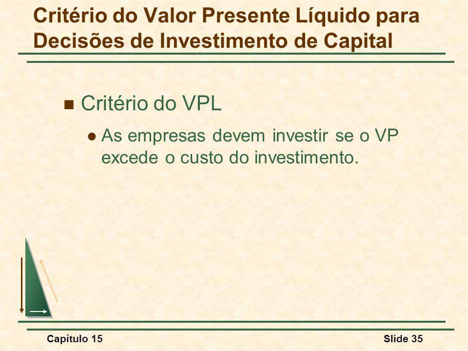 Critério do Valor Presente Líquido para Decisões de Investimento de Capital