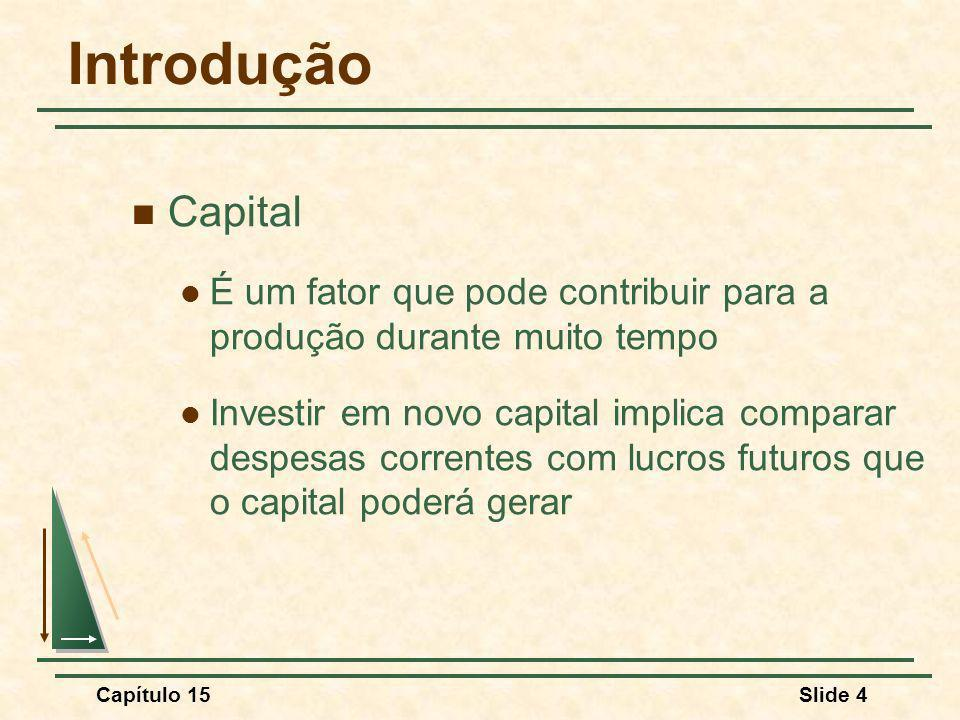 Introdução Capital. É um fator que pode contribuir para a produção durante muito tempo.
