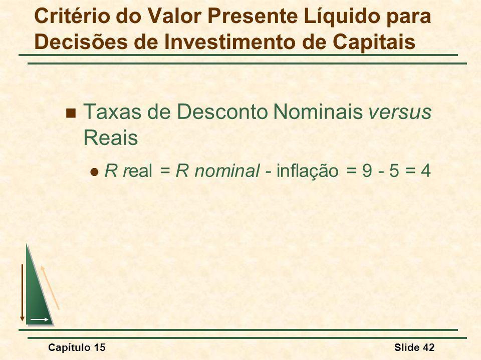 Taxas de Desconto Nominais versus Reais