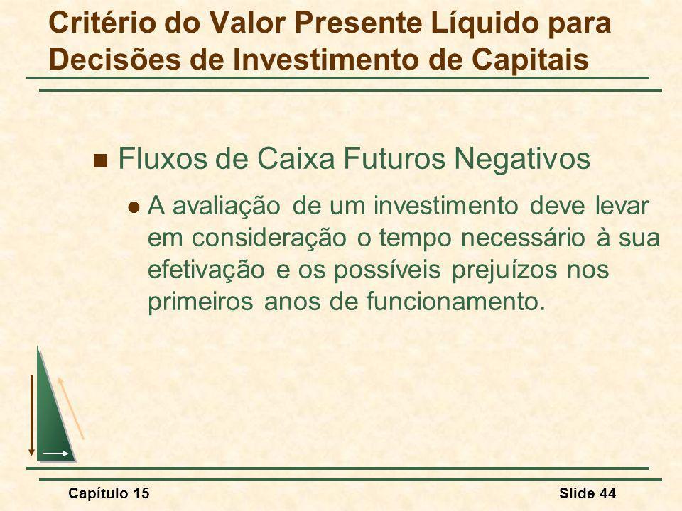 Fluxos de Caixa Futuros Negativos