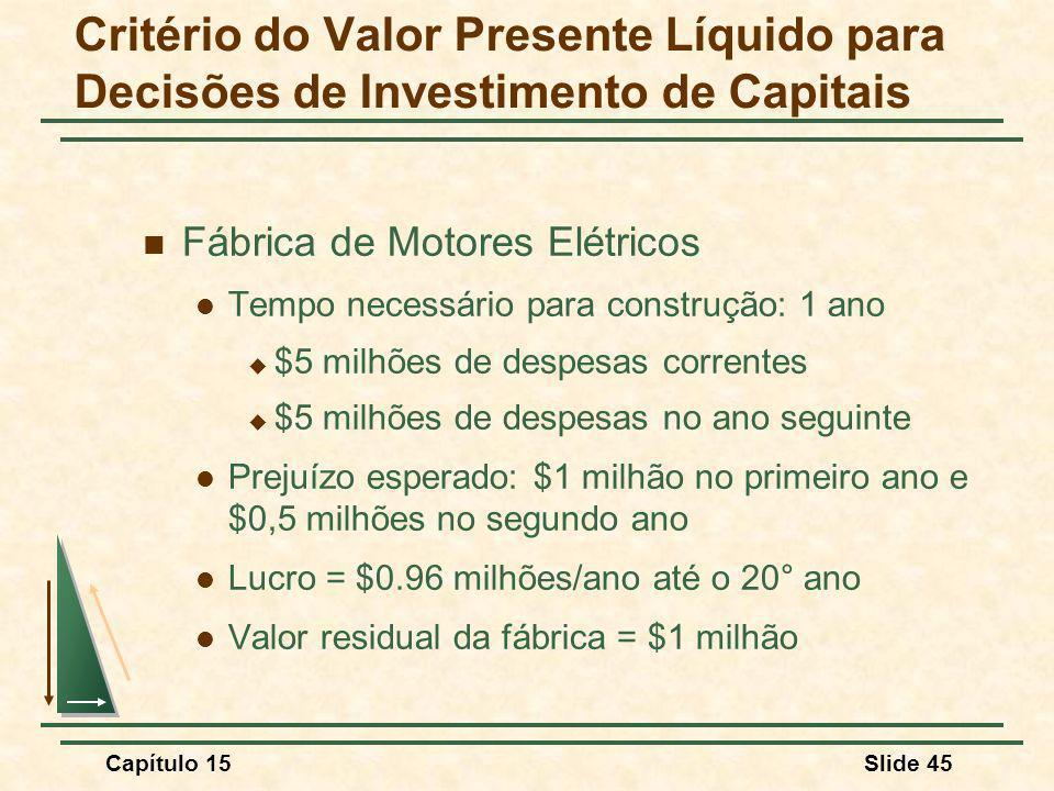 Critério do Valor Presente Líquido para Decisões de Investimento de Capitais