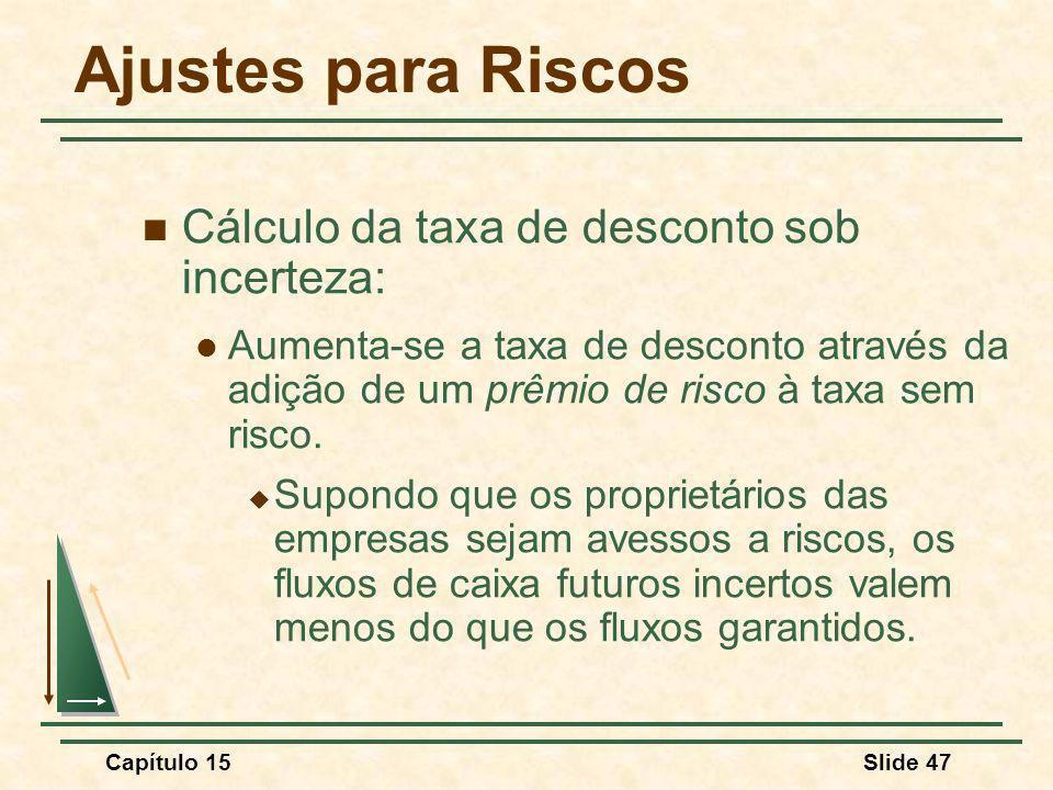 Ajustes para Riscos Cálculo da taxa de desconto sob incerteza: