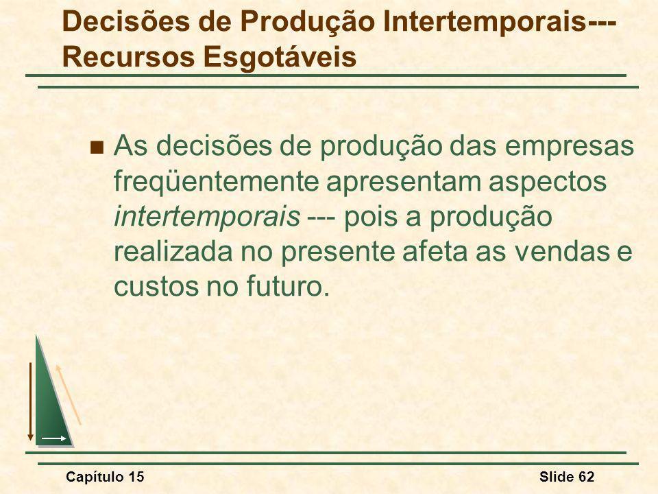 Decisões de Produção Intertemporais--- Recursos Esgotáveis