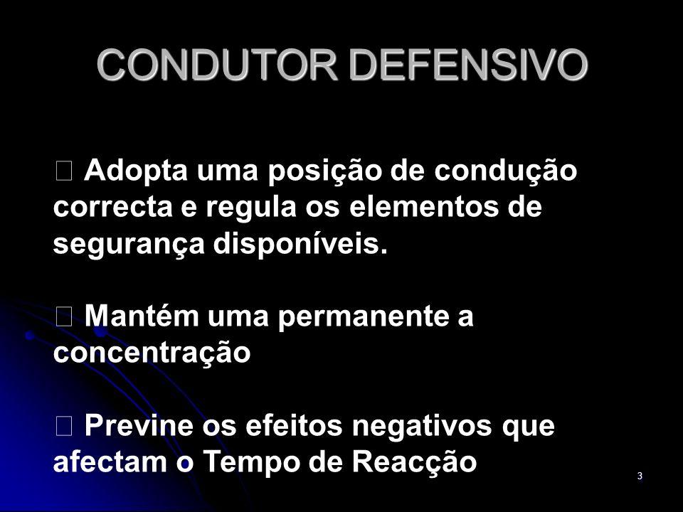 CONDUTOR DEFENSIVO  Adopta uma posição de condução correcta e regula os elementos de segurança disponíveis.