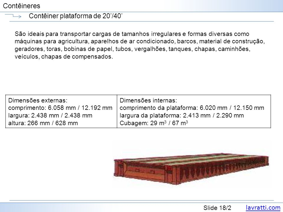 Contêiner plataforma de 20'/40'