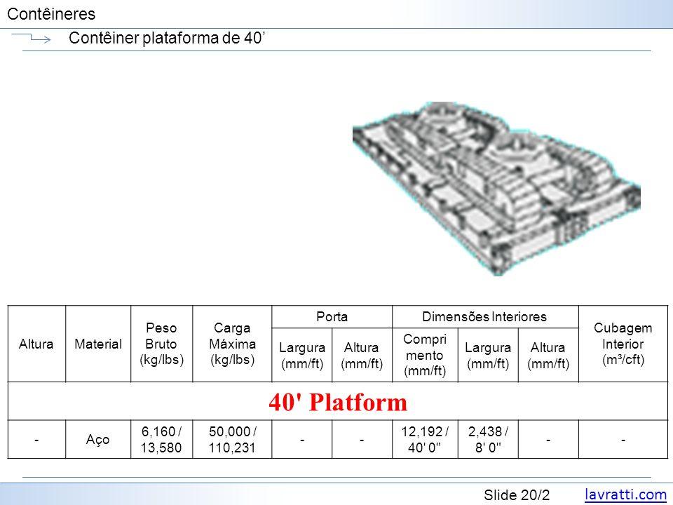 Contêiner plataforma de 40'
