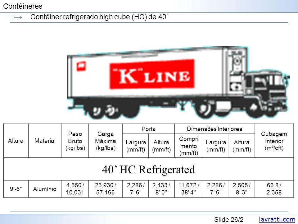 Contêiner refrigerado high cube (HC) de 40'