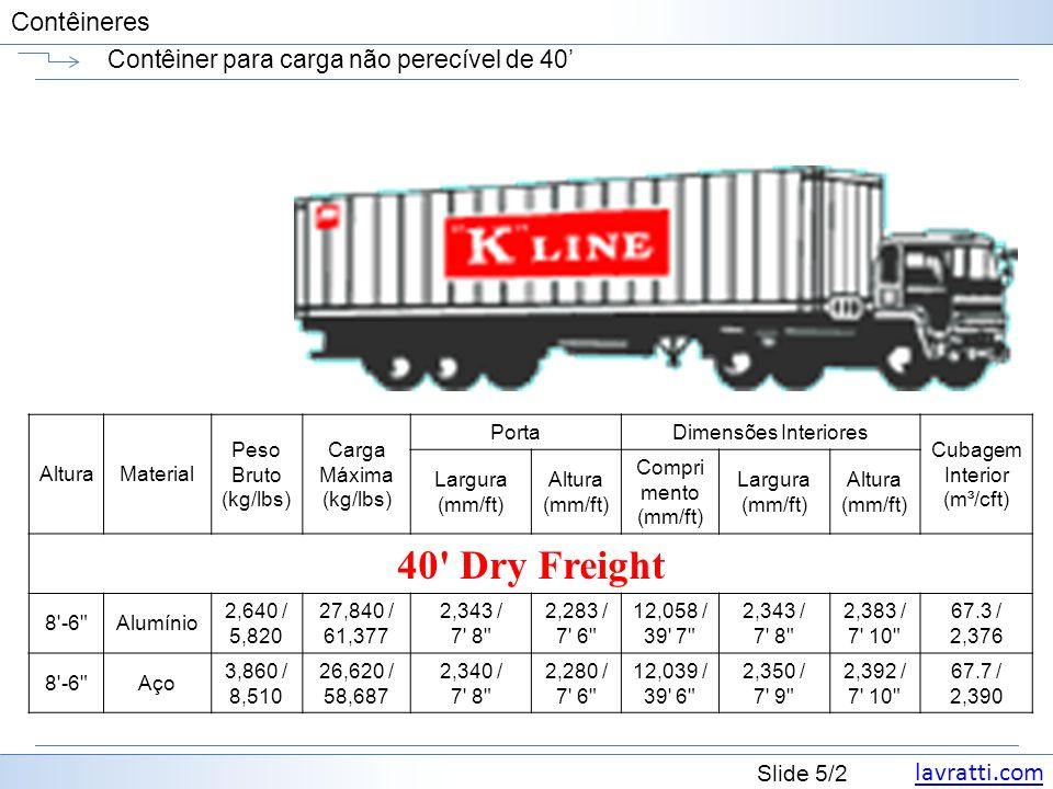 Contêiner para carga não perecível de 40'